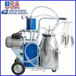 25L Electric Milk Machine Milker farm Cattle Cow Bucket Cattle Dairy Machine -US