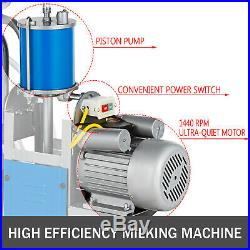 25L Electric Milker Milking Machine For Goats Cows WithBucket 2 Handles 5-8 Cows/h