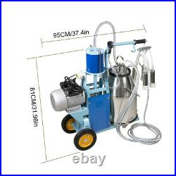 25L Electric Milker Milking Machine For Goats Cows WithBucket 2 Plug Cows Bucket