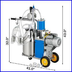 25L Electric Milking Machine For Farm Cows WithBucket Double Handles 5-8 Cows/Hour
