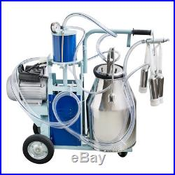 25L Electric Milking Machine Milker Farm Cattle Cow Bucket Stainless Steel Tool