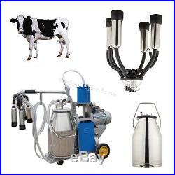 Auto Electric Milking Machine Milker Farm Cattle Cow Bucket Vacuum Piston Pump