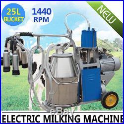 Automatic Electric Milking Machine Milk Cattle Cow Bucket SS Vacuum Piston Pump