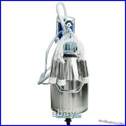 Automatic Electric Milking Milker Machine Farm Cows Goat 25L Bucket Vacuum Pump