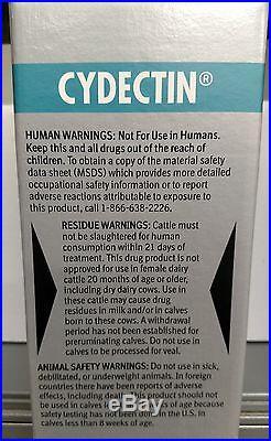 Cydectin Injectable 500ml Cows Calves 10mg Moxidectin per ml Lice Worms