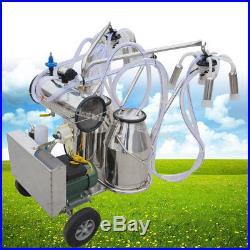 Electric Double Tank Milker Vacuum Pump Milking Machine For Cattle Cows Farm USA