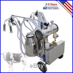 Electric Milking Machine Double Tank 25kg Bucket Milker Vacuum Pump Cow Cattle
