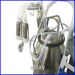 Electric Milking Machine For Farm Cows WithBucket Adjustable Vacuum Pump Milker