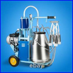 Electric Milking Milker Machine Farm Cows Goat 25L Bucket Vacuum Pump 12Cows/h