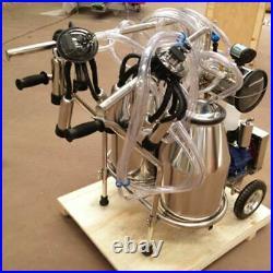 HIG Farm Cow Dairy Cattle Milking Milker Machine Kit+Two Bucket Tank Barrel 110V
