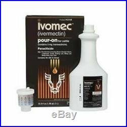 IVOMEC OTC Cattle Pour On Wormer Internal Parasites 1 Liter