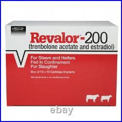 Revalor 200 Cattle Implant 100 Doses Slow Release Weight Gain Steers Heifers