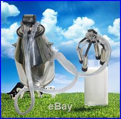 Stainless Milking Machine Portable Dairy Cow Milker Bucket Tank Barrel Cattle CE
