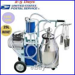 USPSElectric Milking Machine For Farm Cows + Bucket Adjustable Vacuum Pump