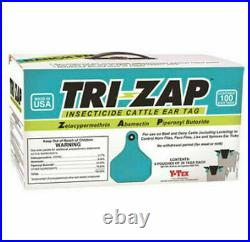 Y-Tex 1625003 Tri-Zap 100 Count Per Box Insecticide Fly Cattle Ear Tags Ranch Pa